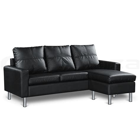 Pu Leather Sofa Pu Leather Sofa Modular Lounge Suite Chaise 4 Seater Black Ebay