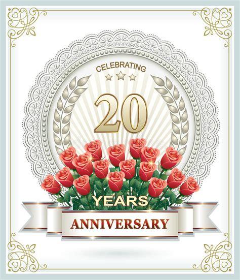 verjaardag 20 jaar bloemen gelukkige verjaardag 20 jaar met rozen vector illustratie