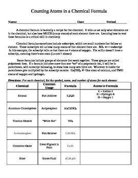 counting type and number of atoms in a chemical formula worksheet
