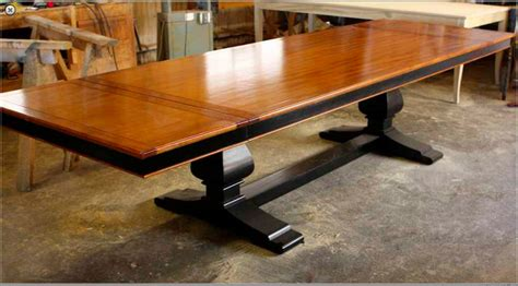 custom mahogany trestle dining table built by mortise