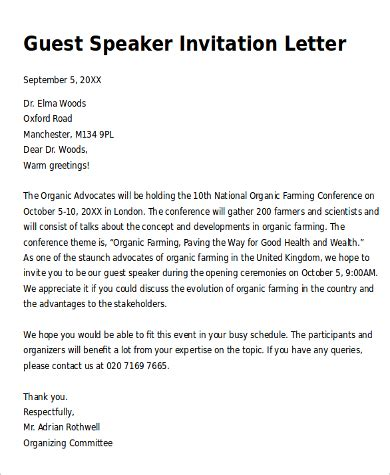 Guest Speaker Invitation Letter Template Sle Invitation Letter 9 Exles In Pdf Word