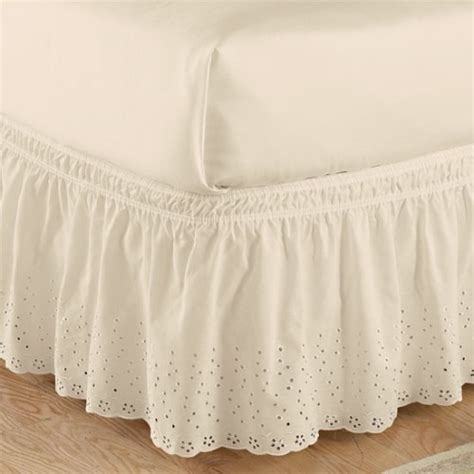 scalloped bed skirt ivory eyelet wrap around bed skirt 15 quot drop scalloped trim