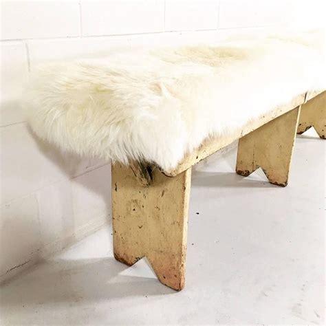 sheepskin bench vintage walnut farmhouse bench with sheepskin cushion at