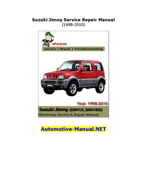 Suzuki Workshop Manual Suzuki Jimny Service Repair Manual 1998 2010