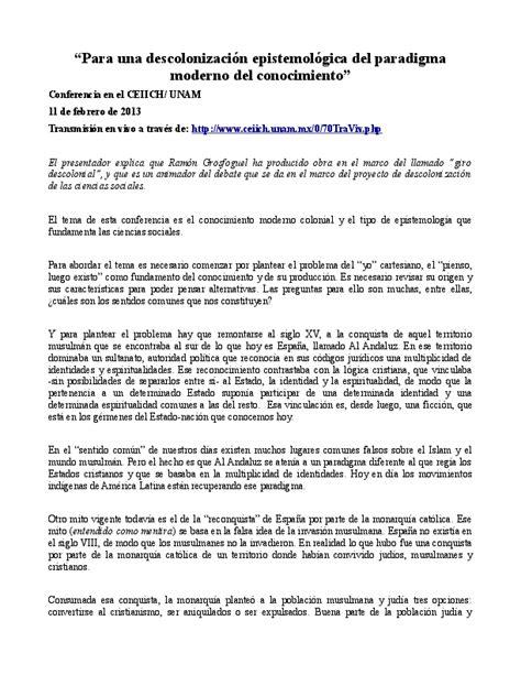 """(PDF) """"Para una descolonización epistemológica del"""
