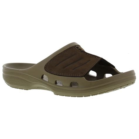 Crocs Yukon Slide crocs yukon mesa slide mens brown leather comfort sandals size uk 7 12 ebay