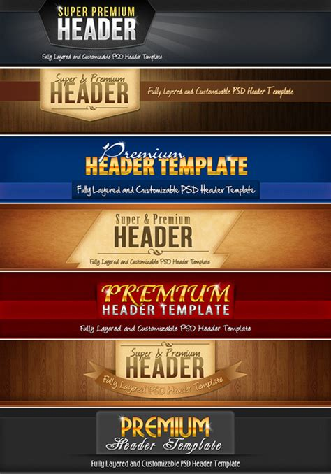 7 website header templates