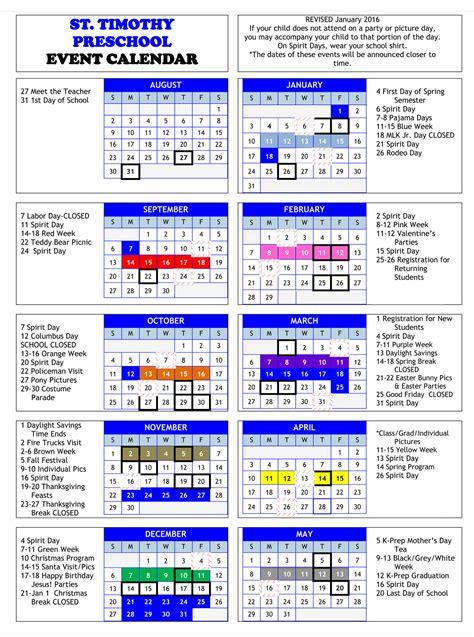 2015 School Year Calendar St Timothy Preschool S Event Calendar