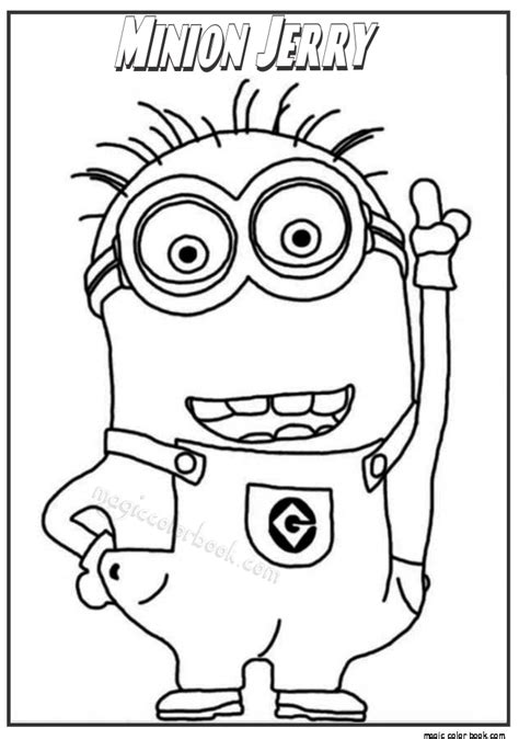 minions coloring pages stuart minion jerry coloring pages for kids magic color book