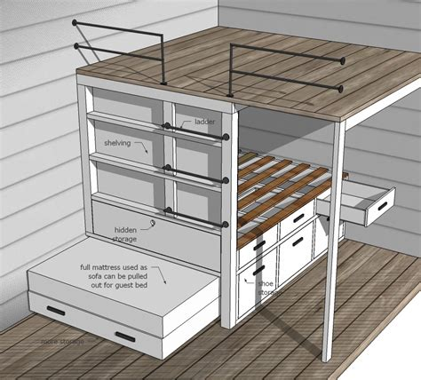 free tiny house plans with loft ana white tiny house loft with bedroom guest bed storage and shelving diy projects