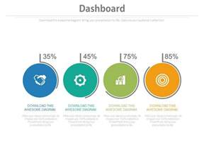 Four Circles With Percentage Icons Dashboard Chart