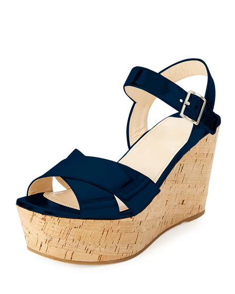 Sandal Wedges Prada Made In Italy lyst prada patent leather cork wedge sandal in blue