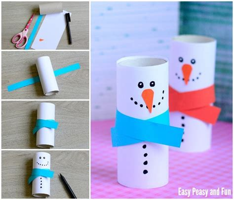 How To Make A Snowman Out Of Paper - paper roll snowman craft winter crafts for easy