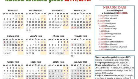 Mali Calend 2018 školski Kalendar 2018 S Praznicima Za 2017 2018 Godinu