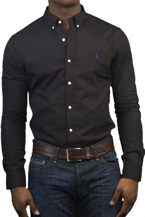 polo ralph slim fit shirt in black a04wsl3bc7569