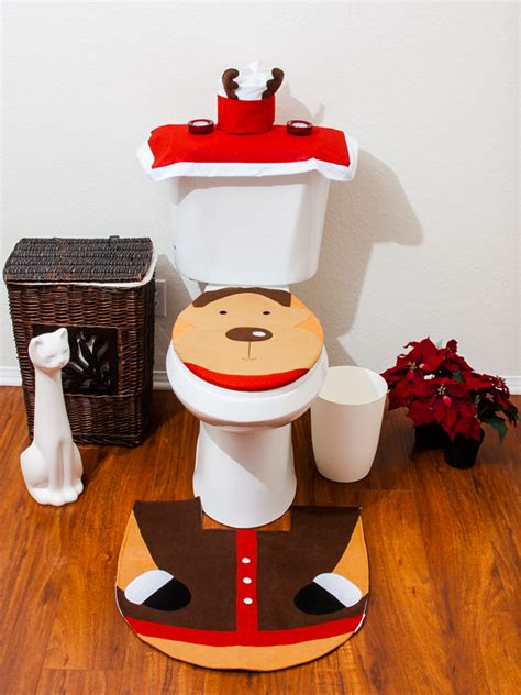 santa bathroom set christmas decorations happy santa toilet seat cover rug