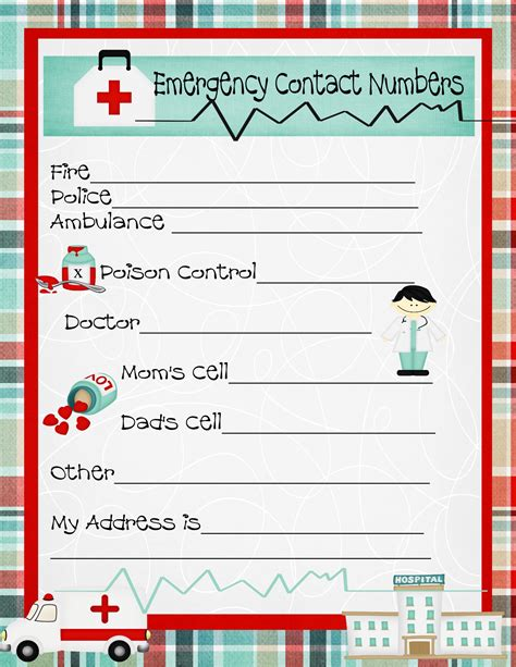 aid program template emergency numbers printable emergency contact phone
