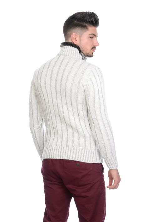 Sweater Cantik Trendy 1 bnwt mens designer cable knit jumper cardigan sweater with fleece lined collar ebay