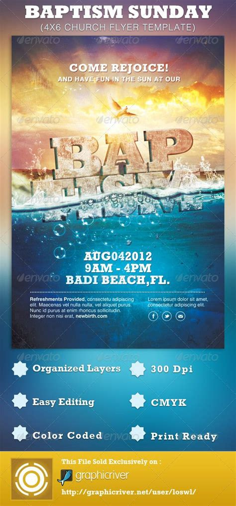 Baptism Sunday Church Flyer Template Can Be Used For Your Beach Baptism Sermons Gospel Sunday Church Program Template