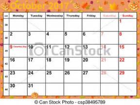 Calendrier Mois Octobre 2017 Illustration De Calendrier Octobre 2017 Usa Mois