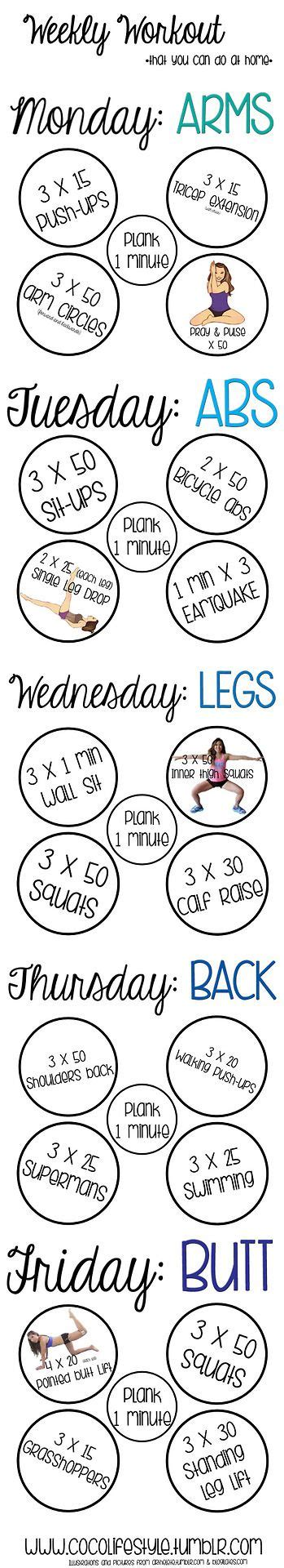 weekly workout you can do at home fitness