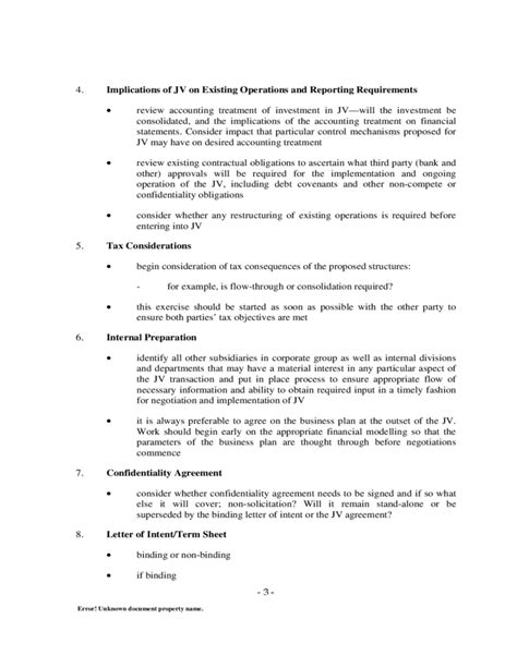 Term Sheet Template For Joint Venture by Letter Of Intent For Joint Venture Docoments Ojazlink