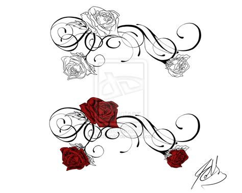 beautiful front shoulder rose tattoo sketch design by