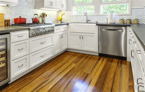 Endearing White One Wall Kitchen Design With Island And