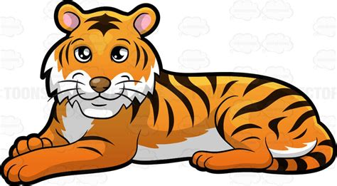 clipart tiger a beautiful tiger lying clipart by vector