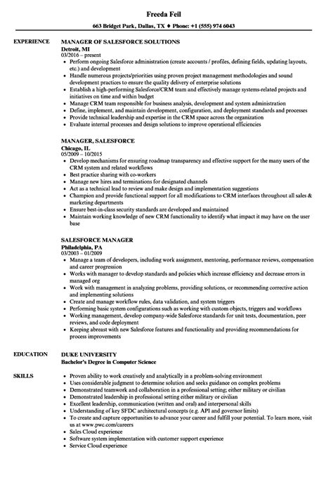 salesforce manager resume sles velvet jobs