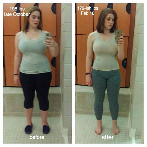 5 3 weight loss f 21 5 7 quot 198 gt 179 20lbs 4 months weight inches