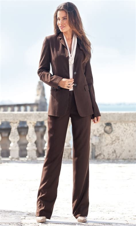 lel pinstripe suit brown womens clothes