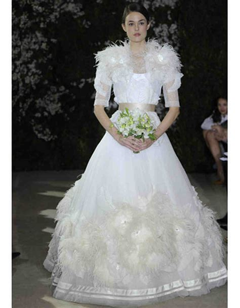 wedding dresses with feather details from 2012 bridal fashion week martha stewart weddings