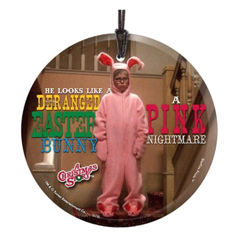 a christmas story pink nightmare hanging glass ornament