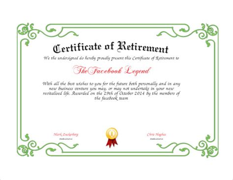 retirement certificate template 7 download documents in