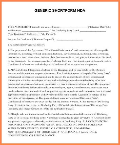 standard confidentiality agreement template 5 standard non disclosure agreement template purchase