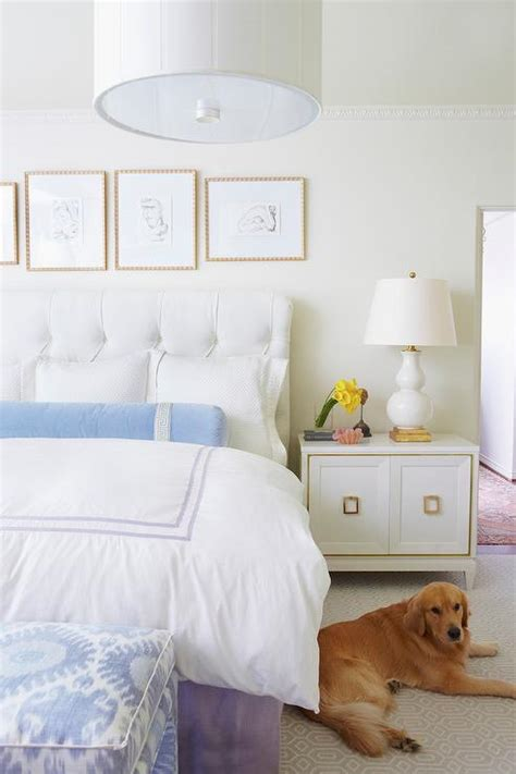 white comforter with blue accents white bedroom with blue and purple accents transitional
