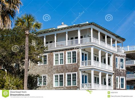 Wood Siding Beach House With Balconies Stock Photo   Image