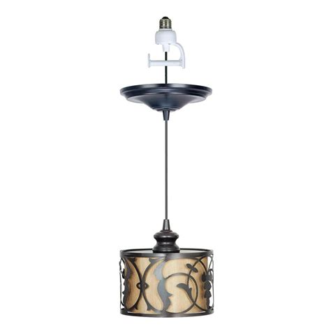 Instant Pendant Light Worth Home Products 1 Light Brushed Bronze Instant Pendant Conversion Kit And Overlay With Linen