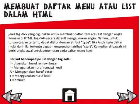 membuat ul html pemrograman web cara membuat daftar atau list