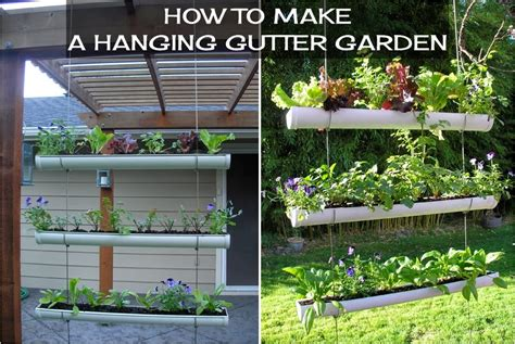 diy hanging gutter garden diy craft projects