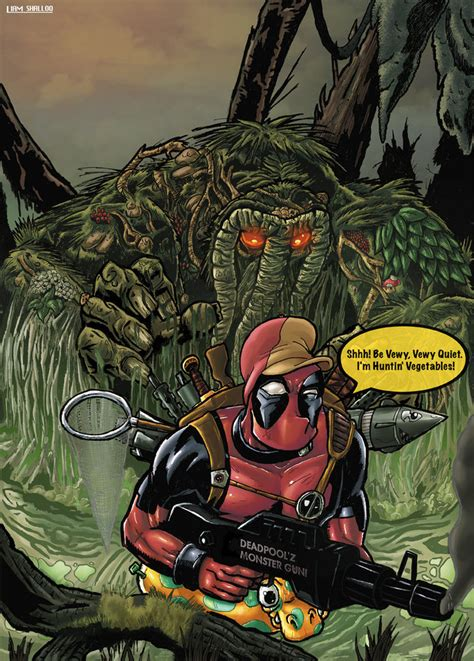deadpool vs man thing by liamshalloo on deviantart