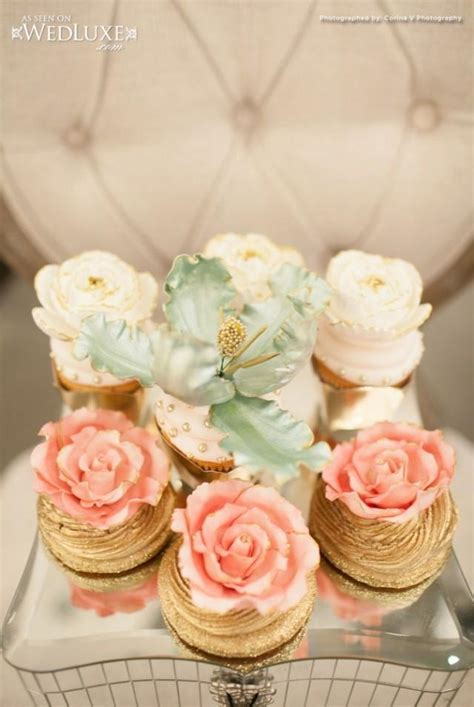 cupcakes ideas for bridal showers wedding nail designs gilded bridal shower cupcakes 2027387 weddbook