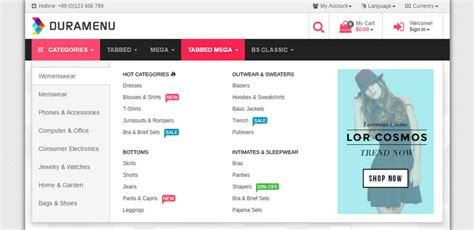responsive header design bootstrap duramenu responsive bootstrap menu by brienlabs codecanyon