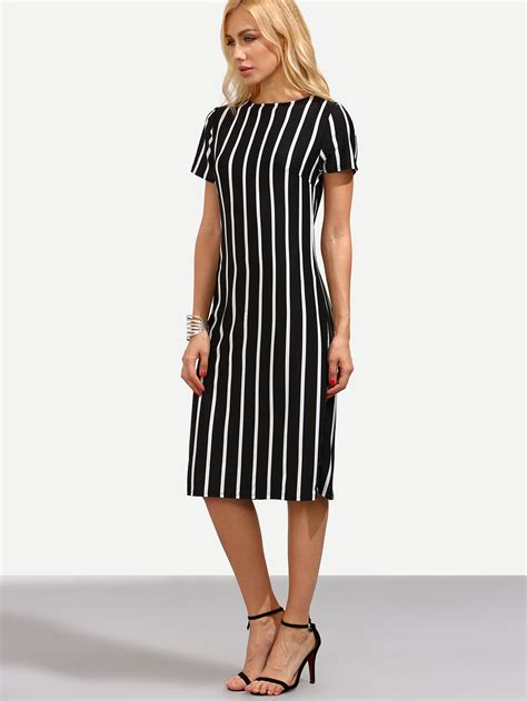 Vertical Black shop black vertical striped sheath dress shein