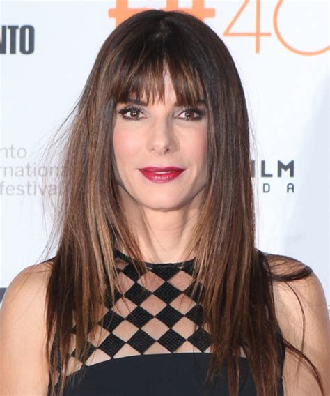 Sandra Bullock Long Straight Casual Hairstyle with Blunt