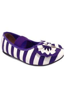Flat Shoes Garis lumiere sepatu anak flat shoes garis dan pita ungu