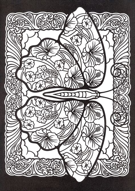 stained glass coloring book fanciful butterflies stained glass coloring book 005306