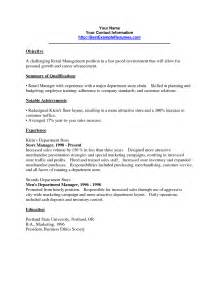 Retail Management Resume Sle by Retail Resume In York Sales Retail Lewesmr