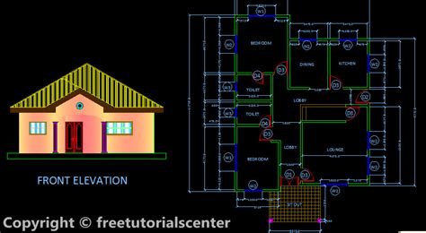 house plan section elevation two bed room house design plan section and front elevation